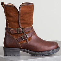 Women's Belted Mid Calf Motorcycle Boots