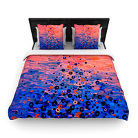 """Ebi Emporium """"What Goes Up"""" Blue Pink Woven Duvet Cover"""