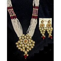 Multi stranded seed bead long chain necklace with glittery polki stone pendant and long earring set