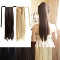 Deluxe Wrap Around Straight Ponytail Hair Extensions Piece 47cm = 5658512769