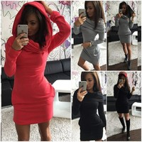 Winter Hats Hoodies Long Sleeve Women's Fashion One Piece Dress [9415808652]