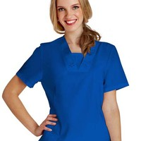 Buy Adar Women Eyelet Tunic With Inset White Scrub Top for $19.45