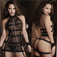 New sexy lingerie hot black bandages splice perspective Gauze Handcuffs inmates SM cosplay erotic lingerie sexy costumes