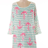Anchors Away Mint Tunic Cover Up