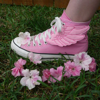 Shimmering Metallic Pink Embroidered Percy Jackson Inspired Shoe Wings