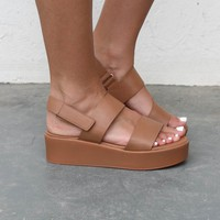 Young Heart Tan Platform Sandals - Amazing Lace