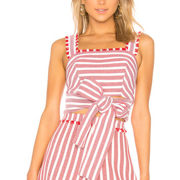 Alexis Lae Crop Top in Red Cream Stripes
