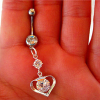 Navel Belly Button Ring Barbell Clear Crystal Heart Rhinestones naval