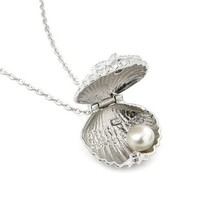 Sterling Silver Cz and Freshwater Pearl Seashell Locket with 16 Inch Plus 2 Inch Adjustable Chain