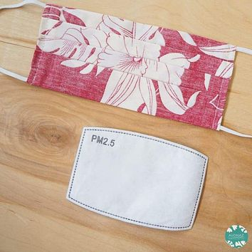 Pleated Face Mask + Filter Pocket  ~ Red Orchid Shadow