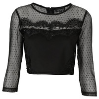 Dobby Mesh Sequin Crop Top - Cropped Tops & Bralets - Tops - Clothing - Topshop USA