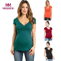 2018 New Maternity clothes t shirt Women Solid Pregnant Nursing Baby Maternity tees Multifunctionl Blouse T-Shirt for Summer