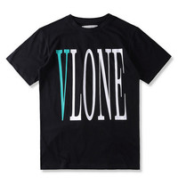 Vlone New T shirt Men OFF WHITE Fashion T-shirt Hip hop Streetwear Loose Cotton Oversize Tees Big V Striped Print Camisetas XL