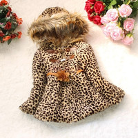 Baby Children Girls Leopard Faux Fox Fur Collar Hoodie Coat Clothing SV008292|26601 Children's Clothing = 1745583876