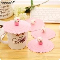 Keythemelife Pink Hello kitty Dustproof Leakproof Reusable Silicone Cup Lid Insulation Cup Cover Thermal Seal Cover D0