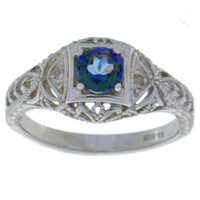 Natural Blue Mystic Topaz & Diamond Round Ring .925 Sterling Silver