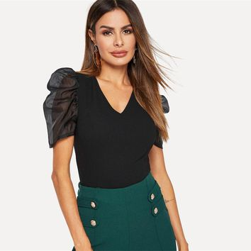 Black V Neck Sheer Contrast Mesh Puff Sleeve Slim Fitted Top Women Party Night Out Short Sleeve Tshirt Tops