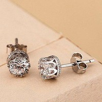 Fashion 925 Sterling Silver Crown Shaped Austrian Crystal Stud Earrings