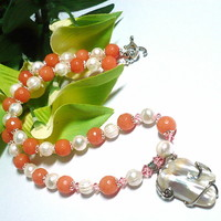 Tea Rose Orange Jade, White Pearl Necklace with Blister Pearl Pendant