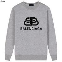 Balenciaga Tide brand cotton interlocking double B letter round neck sweater grey