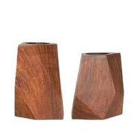 Faceted Rosewood Tealight Holder