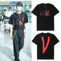 short sleeve vlone graffiti love cursive logo limited t-shirt