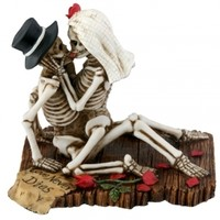 Love Never Dies Skulls Making Out Wedding Cake Topper - Wedding Collectibles