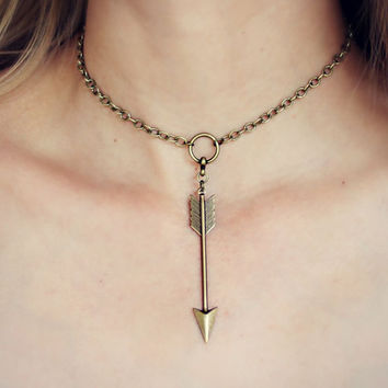 arrow choker, tribal choker, arrow necklace, short necklace, hippie necklace, 90s fashion