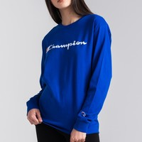 Champion Crew Neck Script Print Long Sleeve Women's Tee in Oxford Grey, Team Red Scarlet, White, Black, Surf The Web