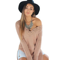 Women Oversized Warm Tricot Jumpers Knitted Camel Long Pullover Sweaters