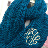 Chunky Peacock Blue Infinity Scarf Monogram Font shown MASTER CIRCLE in ivory