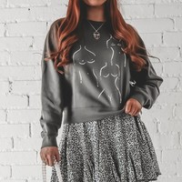 AMUSE SOCIETY Painted Muse Charcoal Pullover