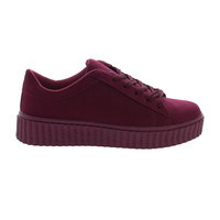 Caleb02 Burgundy By Wild Diva, Lace Up Sneaker w Rubber Texture Ridges Thick Platform Sole