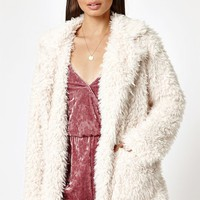 Kendall & Kylie Fuzzy Fur Coat at PacSun.com