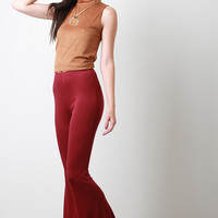 Jersey Knit Flared Pants
