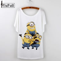 Harajuku 2016 Casual Graphic Tees Women T-shirt O-neck Minion cartoon print Summer ladies Tops T shirt Femme loose tshirts White