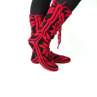 Christmas , Red and Black ,Warm , Long ,Cozy ,Wool Socks ,Mukluk ,Long Slippers