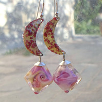 Lampwork Earrings, Enameled Brass Crescent Earrings, Glass Jewelry, Mixed media Earrings, Unique Handmade Jewelry Gift for Her