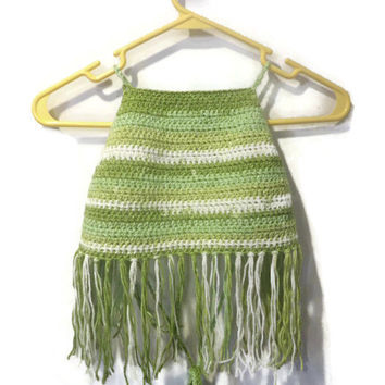 Cute green halter top with fringe, festival top, summer halter top