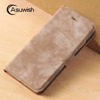 Asuwish Luxury Flip Cover Wallet Pouch Leather Case With Card Holder Kickstand Phone Bag For Apple iPhone 7 For iPhone 7 Plus