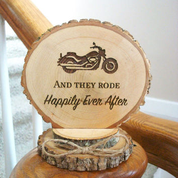 Motorcycle Cake Topper, Rustic Wedding Cake Topper, Wood Slice Cake Topper, Motorcycle Wedding, Engraved Topper, Motorcycle Cake Top