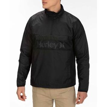 Hurley Mens Jacket Black Size 2xl  Windbreaker Siege Anorak Logo $80