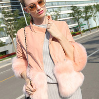 Pink 3/4 Sleeve PU Panel Faux Fur Coat