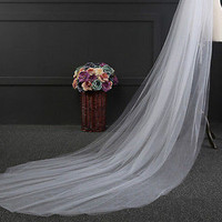 New 3M White  Wedding Bridal Veil Satin Edge With Comb Elbow Length