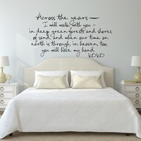 Across the Years... Cute Romantic Poem Wall Decal Sticker Art