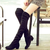 On Sale Hot Deal Winter Knee-length Korean Stretch Boots [7993616001]