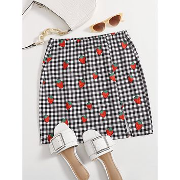 SHEIN Strawberry Print Buffalo Plaid Skirt