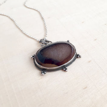 New! Handmade Sterling Silver, Bezel Pendant with a Natural, Oval Druzy Agate Cabochon and Sterling Rolo Chain, Bali Style, Gift, Gemstone