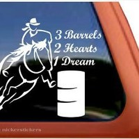 3 Barrels, 2 Hearts, 1 Dream Barrel Racing Horse Trailer Vinyl Window Decal Sticker