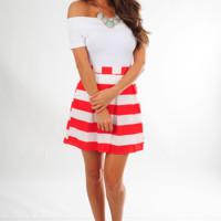 EVERLY: When The Mood Stripes Skirt: Red/White
